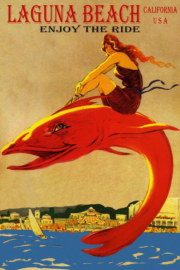 ENJOY THE RIDE LAGUNA BEACH CALIFORNIA GIRL RIDING BIG FISH VINTAGE POSTER REPRO