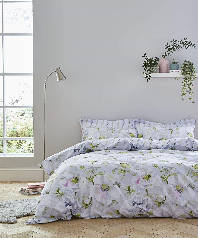 Weiß - Arctic Poppy Weiß & Grün Floral 100% Cotton Print Duvet Cover Set