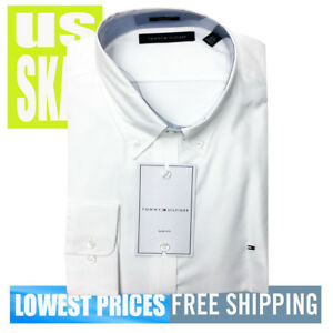 Tommy-Hilfiger-Men-039-s-NWT-SLIM-White-L-Sleeve-Button-Down-Shirt-17-32-33-XL