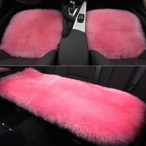 Image Is Loading 3pcs Set Pink Car Seat Covers Sheepskin Wool