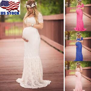 d50a1645273 La foto se está cargando Pregnant-Women-Lace-Maternity-Dress-Bodycon-Long- Maxi-