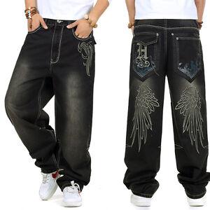 Street 46 Jeans Rue Noir Broderie Hip W30 Plus Pantalons Skateboard Wear Hommes Hop Taille 1CwA1Hq4