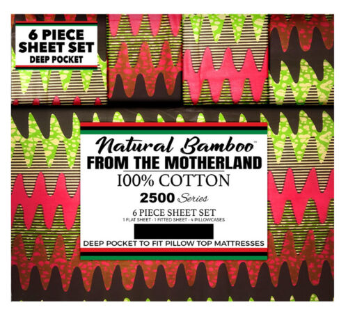Natural Bamboo 100/% Cotton Queen Size Wrinkle Free African Kente Print BedSheets