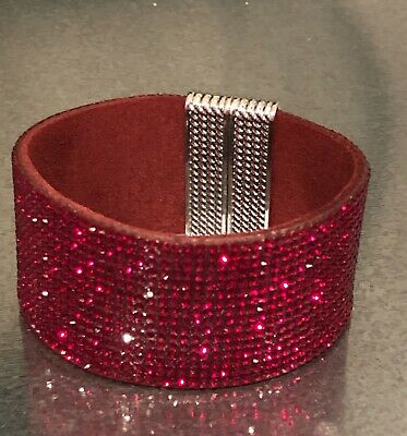 Swarovski Elements Bracelet Gold Crystal /& Tan Alcantara Leather Wide Bling Cuff