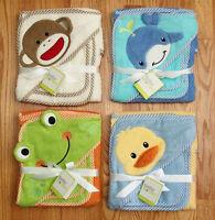 Baby Starters Hooded Bath Towel & Wash Cloth Set Frog, Duck, Whale, Sock Monkey
