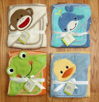 Baby Starters Hooded Bath Towel & Wash Cloth Set Frog, Duck, Whale, Sock Monkey