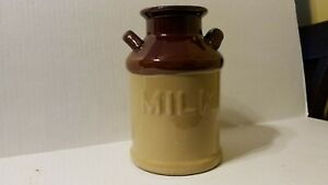 DUAL-HANDLE-MILK-JUG-VASE-COUNTRY-KITCHEN-BROWN-BEIGE-GLAZE-CLAY-POTTERY