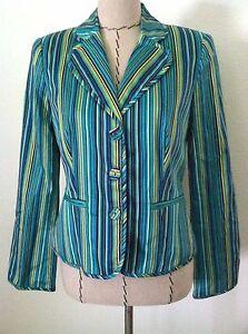 verde blu taglia Blazer a Maggie 4 London Giacca donna da Colorato giacca righe X04qwP86P