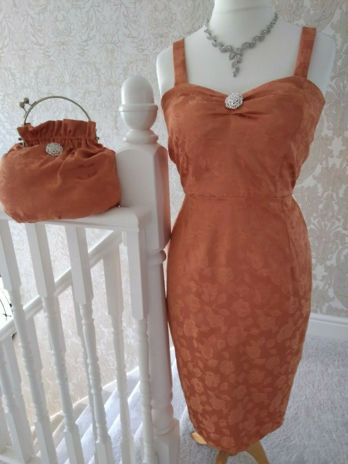 mother of the bride dress and matching bag NEW 16 stretch satin brocade