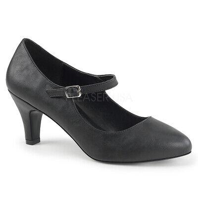 Pleaser DIVINE-440 Women/'s Black Faux Leather Block Heel D/'orsay Mary Jane Pumps