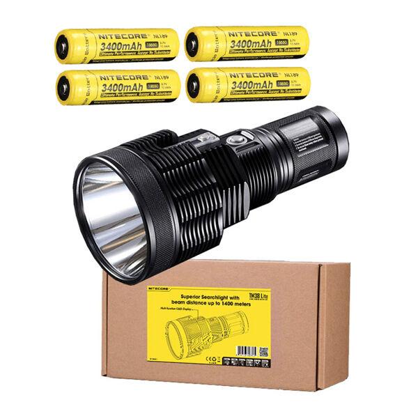 Nitecore TM38 Lite XHP35 HI D4 LED Flashlight -1800Lumens w 4x NL189 Batteries