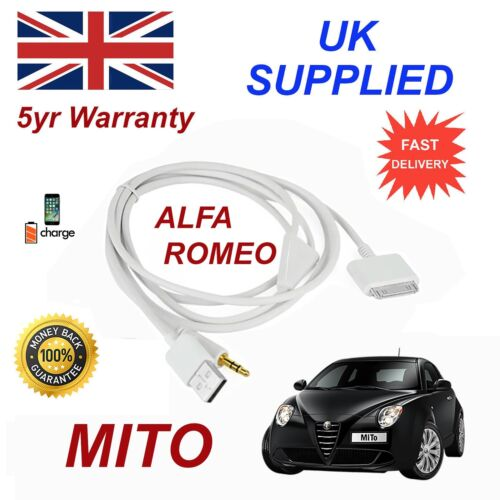 For Alfa Romeo MITO 3GS 4 4S iPhone 30 pin iPod USB /& 3.5mm Aux Audio Cable w