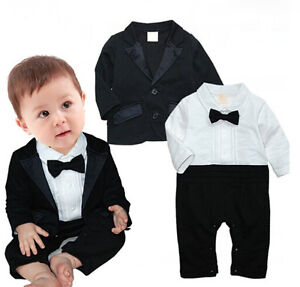 Boy Black Tie Tuxedo Romper 2in1 Baby Boy Suits 2T-6T Children Clothing Longsuit