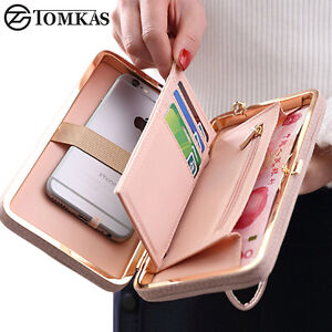 Luxury Women Wallet Phone Bag Leather Card Case Bag For iPhone Samsung LG HTC