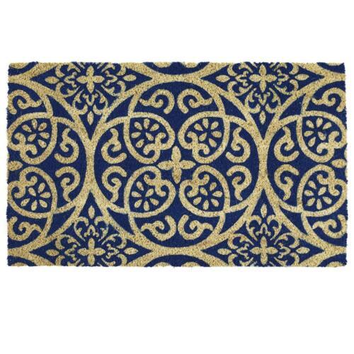 Details about  /Blue Damask Natural Coir Non Slip Floor Entrance DoorMat Indoor Outdoor Doormat