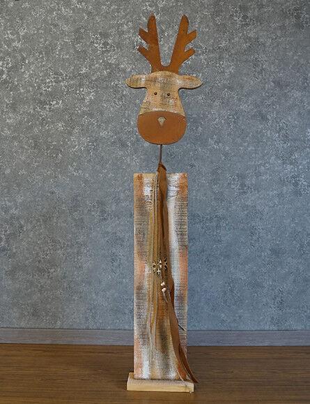 Dekosäule Elch Holz 113cm 113cm 113cm Weihnachtselch Weihnachtsdeko Figur Winter | Schön und charmant  69977a