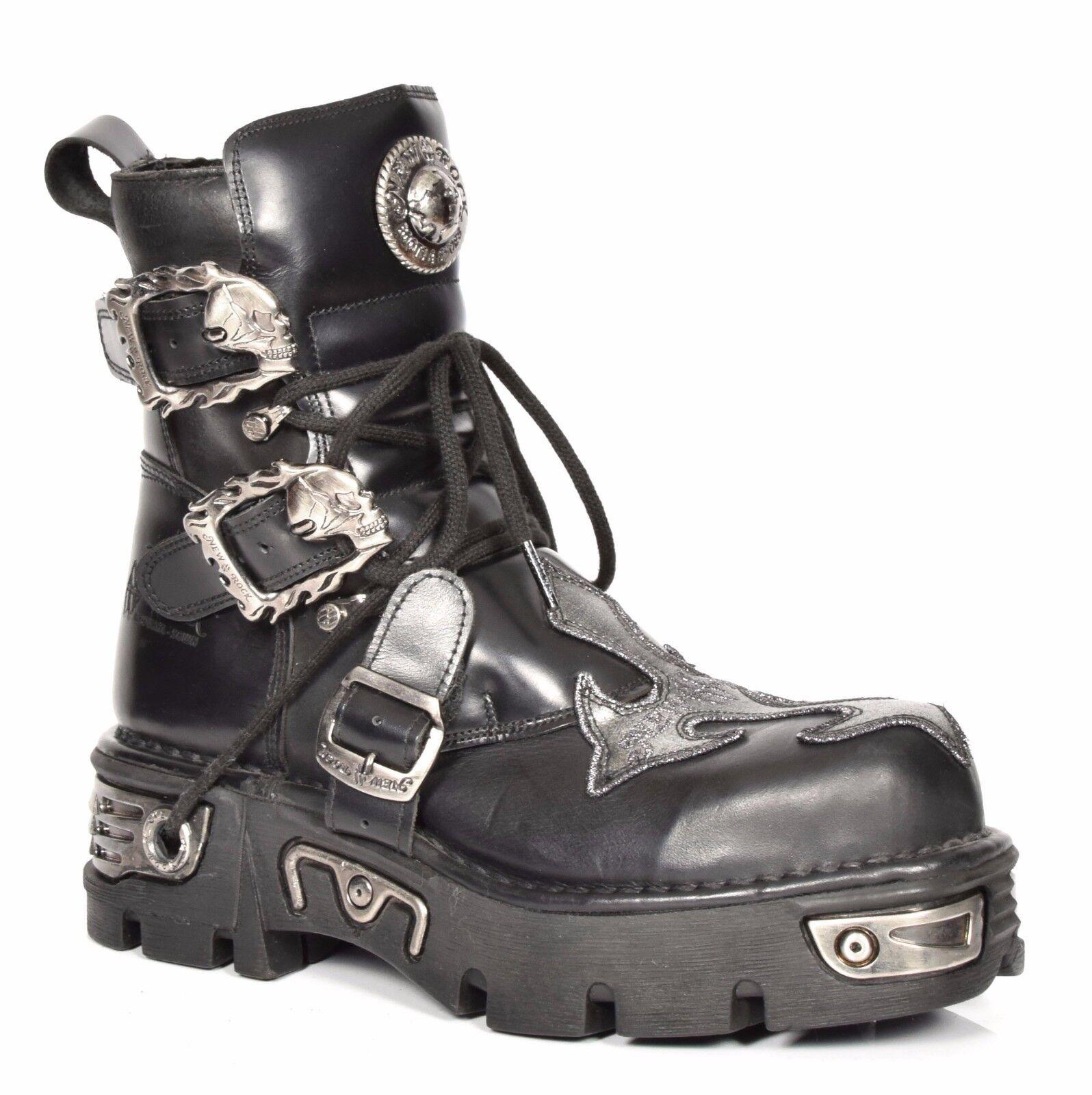 Nuevo Cuero botas al al al Tobillo Zapatos De Rock Hi Top Con Cordones De Cruz De Plata Diseño Rockstar  servicio honesto