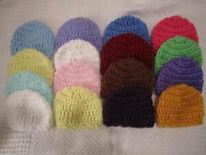4-CROCHETED HOSPITAL HATS FOR MICRO PREEMIE OOAK BABY OR REBORN DOLL ... 90794231879
