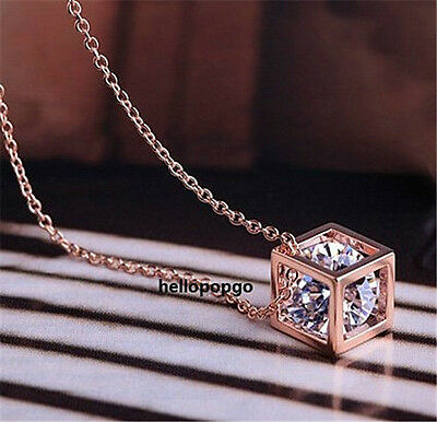 18K Rose Gold Gp Crystal In Box Square Cute Jewelry Chain Women Necklace BR936