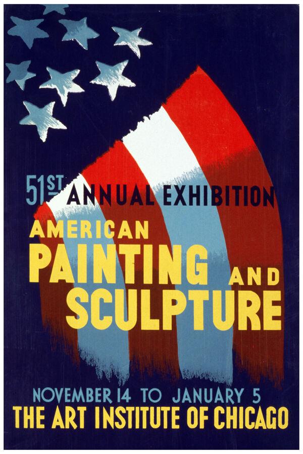 2618.American painting sculpture vintage POSTER. Decorative Art.Interior design
