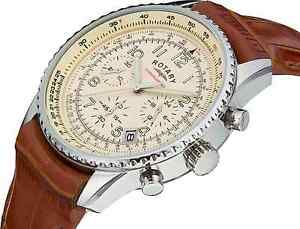 rotary men s gs03447 08 chronospeed chronograph brown leather image is loading rotary men s gs03447 08 chronospeed chronograph brown