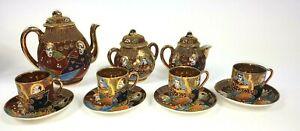 Japanese-Satsuma-Tea-Set-Samurai-China-Gold-Lined-Eggshell-Porcelain-Oriental