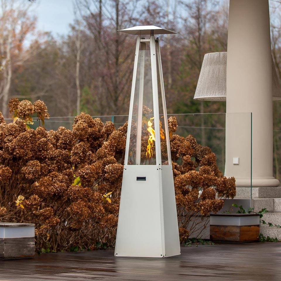 Outdoor gas heater UMBRELLA - steel white Patio Heater Pub heater Elegant