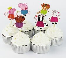 24 Pcs, Peppa Pig Cupcake Toppers Kids Birthday Party Supplies.