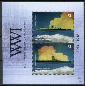 Micronesie-2014-neuf-sans-charniere-WWI-100th-anniv-premiere-guerre-mondiale-sous-marins-2-V-S-S