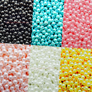 Glass-Pearl-Round-4mm-Loose-Beads-with-Hole-6-colours-Jewellery-Crafts-New