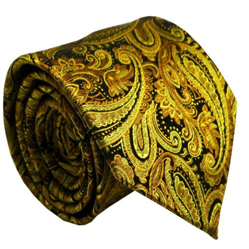 Silk Gold Yellow Paisley Men Necktie Wedding Party Office Formal Men Tie NT381