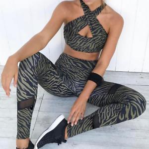 2PCS Women/'s Sport Gym Yoga Vest Bra Legging Pants Ladies Outfit Set Camouflage