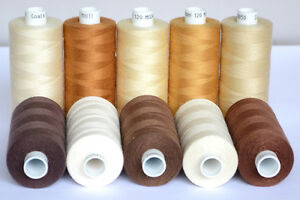MOON-POLYESTER-SEWING-THREAD-Brown-amp-Cream-Family-Colours-Total-10-Spools