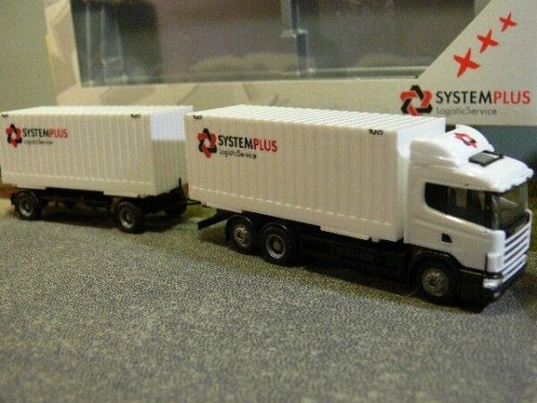 1 87 Herpa Scania 124 System Plus cargobox hängerzug 243629