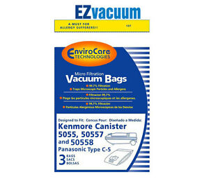50557 and 50558 By EnviroCare Sears Kenmore Type C Canister Vacuum Bags 5055