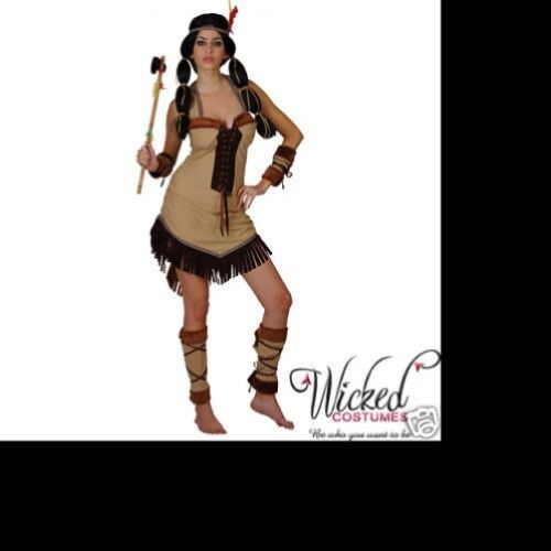 Princesse Indienne Lady Femme Pocahontas costume robe femme Taille 14-16 UK réduit