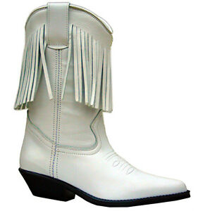 eaca545b166 Ladies White Leather Boots Western Fringe Cowboy Cowgirl Tassel Boot ...