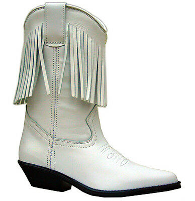 Ladies White Leather Boots Western