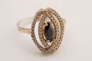 Turkish-Jewelry-Marquise-Cut-Black-Onyx-Topaz-925-Sterling-Silver-Ring-Size-7