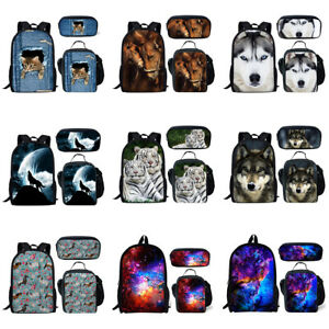 b5d86367e874 Details about Cat Wolf Horse Galaxy Backpack Boys Girl School Lunch Pencil  Bag Unisex Rucksack
