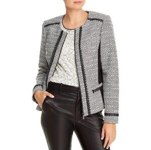 Karl-Lagerfeld-Paris-Tweed-Zip-Front-Jacket-Crochet-Accent-Women-s-size-6-NWT