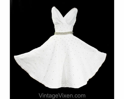 XXS 1950s Sun Dress - Rare White Quilted Summer To