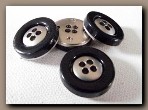 23 mm 2,3 cm Button Sewing métal neuf 4 BOUTONS  noir et argenté 4 trous
