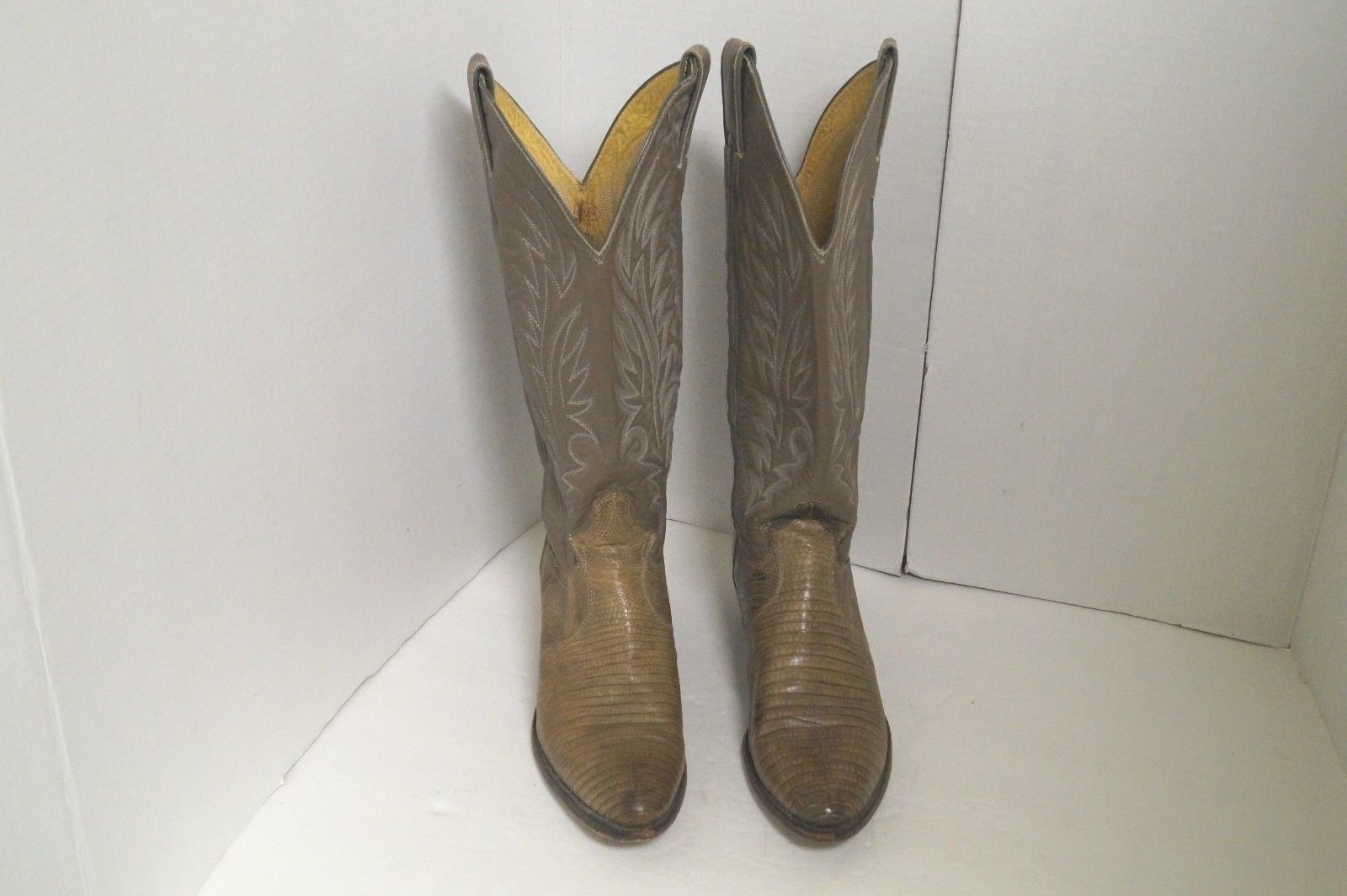 Justin L4701 Womens 5.5 B Western Cowboy Boots Brown Tan Leather Lizard Hipster