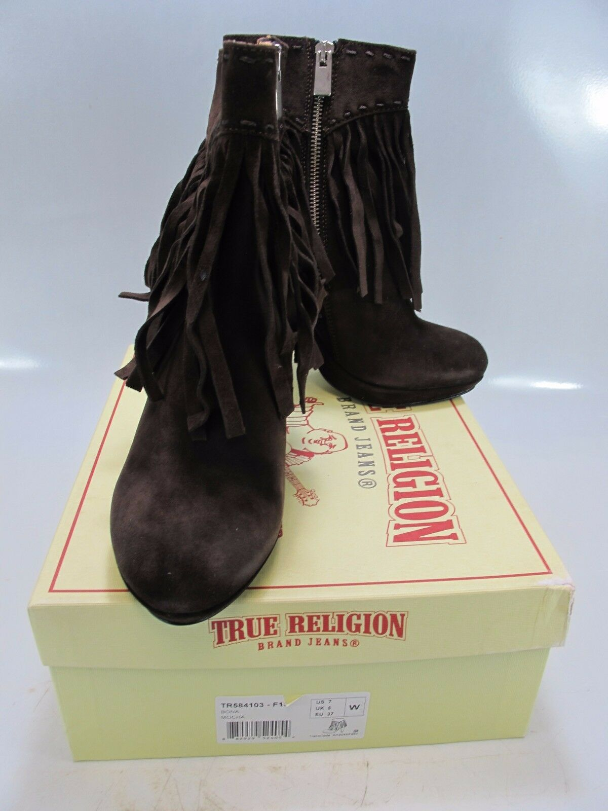 TRUE RELIGION 7W; Women's BONA Mocha Fringe Heeled Booties US 7W; RELIGION W (TR584103) d63685