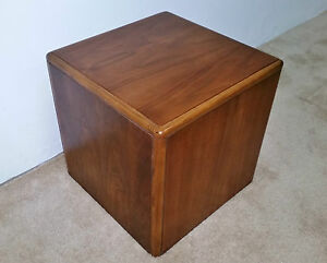 Image Is Loading Mid Century Modern Lane Walnut Cube End Table