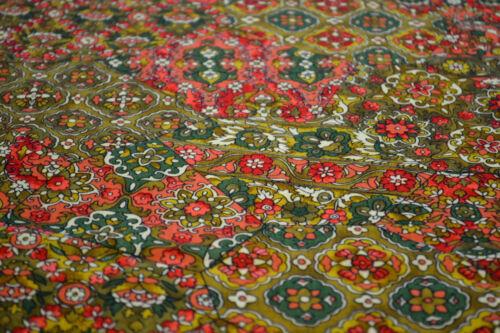 Green Mustard 1029 Japanese Wool Fabric Floral Design Vibrant Orange