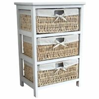 Storage Unit 3 Drawer Wood Organiser Maize Basket Drawers White Bathroom Bedroom