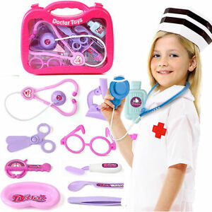13Pcs-Kids-Childrens-Doctor-Nurse-Role-Play-Toys-Medical-Set-Kit-Carry-Case-S166