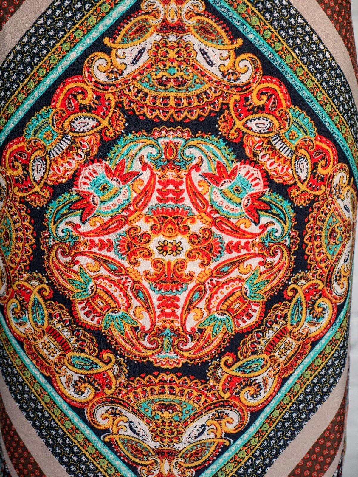 Una M&S Rosso Per Abito Taglia Taglia Taglia 14 Tile Print Etnico Boho Cintura 7c8cb5